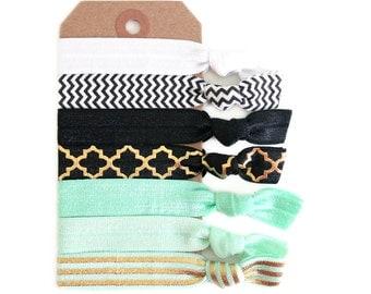 MODERN MINT Elastic Hair Ties, Ponytail Holders, Stretchy Ribbon Hair Ties, Elastic Hair Accessories, Yoga Hair Ties, Boho