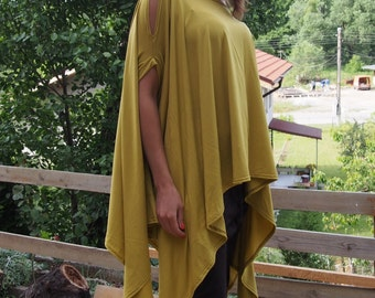 Asymmetric Over-Sized Tunic  Short Sleeve Jersey Tunic Top & Nara TT013