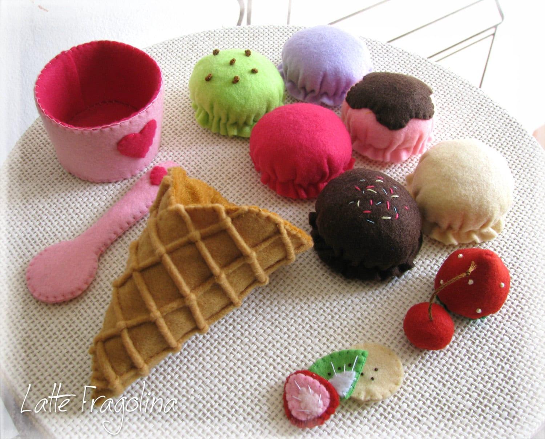 Felt Food Toys R Us : Ice cream set felt toys small food for children