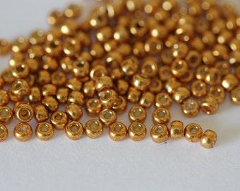 8/0 Duracoat Galvanized Yellow Gold  #4203, Miyuki Seed Beads 16 grams (N-1B)