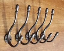 5 x Cast Iron Hooks - Decorative Antique Style Acorn Hooks Rustic Metal Victorian Vintage Entryway Double Hat & Coat Hooks ~ CH13x5
