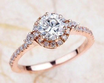 Rose Gold Engagement Ring White Sapphire, Sapphire Halo Engagement Ring Rose Gold, Rose Gold Sapphire, Sapphire Rose Gold Engagement Ring