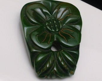 Bakelite Dress Clip Pin Spinach Green