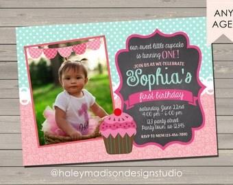 Cupcake Chalkboard Birthday Invitation, Pink, Teal