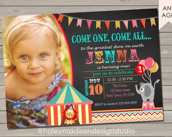 Circus, Carnival Birthday Party Invitation, Vintage Circus, Vintage Carnival, DIGITAL FILE