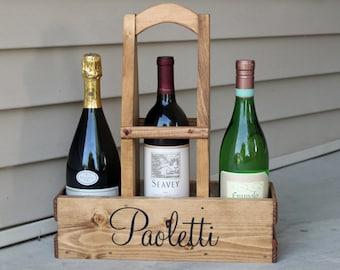 WINE Bottle Carrier Wine Holder Wine Tote WOOD Wine Established Date Personalized Wine Caddy Housewarming Wedding Gift Bridesmaid Gift