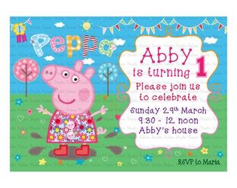 Printable Peppa Pig muddy puddle invitation
