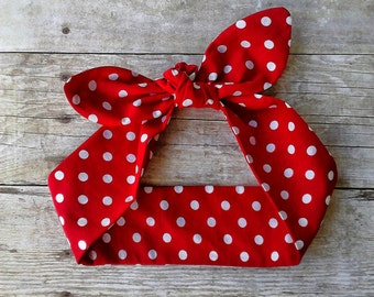 Red polka dot headband bandana knot hair tie Rosie the riveter retro rockabilly style made by FlyBowZ