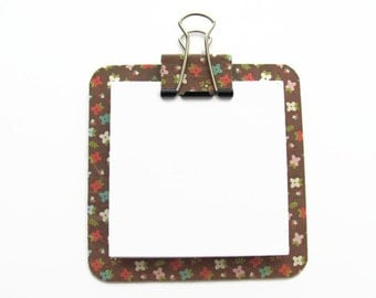 Floral Post It Note Holder, Note Pads, Sticky Notes, Memo Pads, Brown, Gifts for Her, Stocking Stuffers