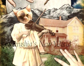 Hey Diddle Diddle  -  Anthropomorphic, Collage, Cat, Nursery Rhyme, Print