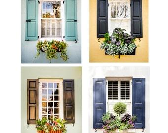 Charleston Art, Charleston Windows, Window Photography, Window Box, Flowers, Yellow, Blue, Green, Southern Decor, Window Art, Set of 4