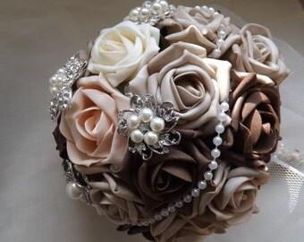 Mocha Beige Peach Foam Roses Brooch Bouquet Bride Bouquet - Made to Order - Bridal Bouquet Bridesmaids Keepsake Bouquet