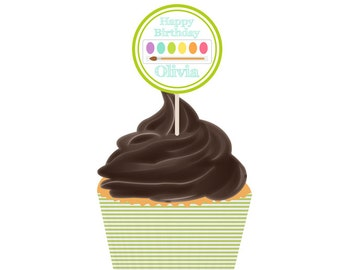 Art Party Cupcake Toppers Printable