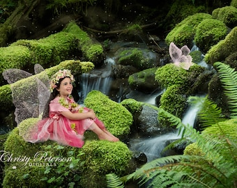 Mossy Rock by Waterfall Digital Background for Fairy Composite Pictures