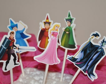 Aurora Sleeping Beauty Cupcake Toppers Set of 12