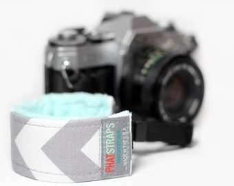 Chevron Camera Wrist Strap for DSLR - Gray Chevron with Aqua Minky