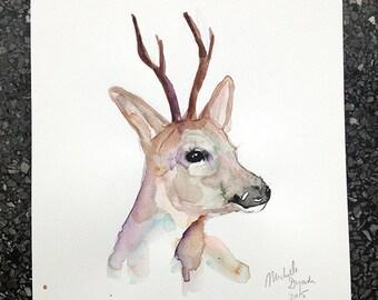 Deer Watercolor Painting - Giclee Art print - Animal painting - roebuck Portrait - deer illustration zen watercolor Michelle Dujardin