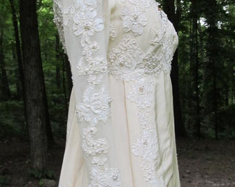 Vintage Boston Proper Tiny Ivory Gown with Matching Headpiece