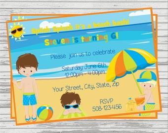 Boy Beach Themed Customized DIGITAL Birthday Invitation.