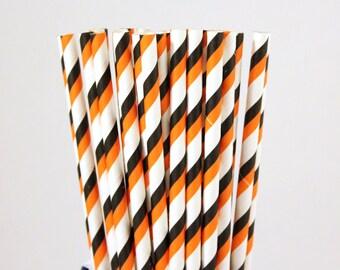 Orange and Black Striped Paper Straws-Halloween Straws-Orange and Black Party Straws-Mason Jar Straws-Halloween Party Straws-Wedding Straws