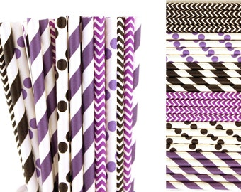 Black and Purple Paper Straw Mix-Stripe Mason Jar Straws-Lavender Paper Straw-Wedding Paper Straws-Chevron Party Straw-Polka Dot Paper Straw