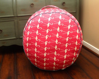 The Original Ottoman Pouf Floor Cushion - Pink Flamingos + Blue Jewel Piping