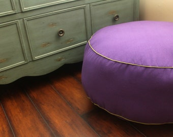 The Original Pouf Floor Cushion - Solid Purple+Leaf Piping