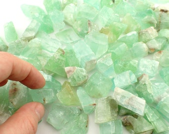 "TWO Green Calcite from Mexico - appx. 3/4"" or 12-28mm - chosen at random small raw rough chosen at random"