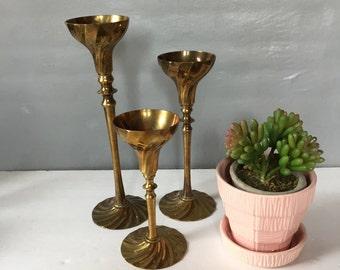 Vintage Set of Three Solid Brass Candlesticks