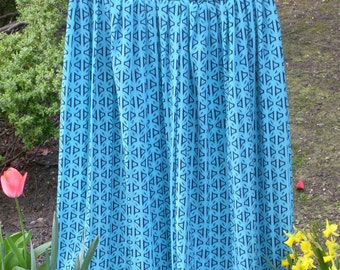 Vintage Blue Midi Skirt - Elasticated Waist - Boho Skirt - Spring/Summer Skirt -Tribal Print - Geometric Print Long Skirt - High Waist Skirt