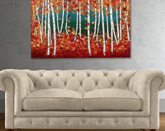 """Birch Trees Painting, Aspen Trees Painting, Textured Painting, Ready to Hang art by Susie Tiborcz 36"""" x 24"""""""