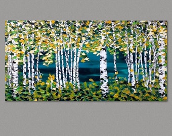 """Birch Trees Painting, Aspen Trees Modern Absract Landscape, Forest painting, art by Susie Tiborcz 24"""" x 48"""""""