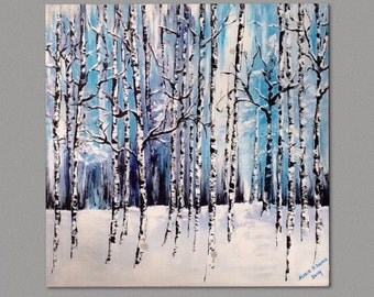 Birch Winter Forest Birch and Aspen trees Modern Absract  on artboard Wall Art by Susie Tiborcz