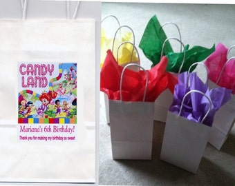 Candyland party favor goody bags personalized set of 10