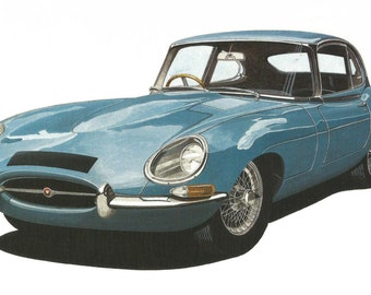 LIMITED EDITION Print Jaguar E Type from an original painting by Malcolm Davies