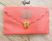 Coral Scalloped Monogram Clutch Purse!!