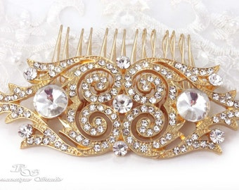 GOLD Art Deco hair comb crystal wedding hair comb wedding hair accessories vintage style bridal hairpiece Gatsby hair comb 5165G