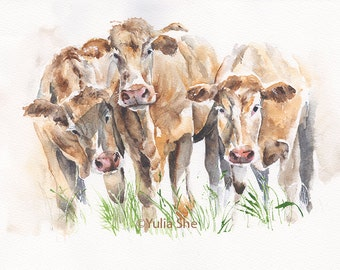 """Sale 30% off Was 56.00 Original watercolor painting cows ~9x12"""""""
