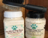 Dog, Puppy Natural Flea Control Treatment, Flea Powder De-Wormer and Dog Grooming Brush
