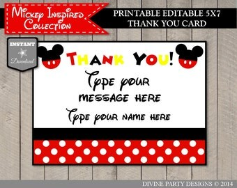 INSTANT DOWNLOAD Editable Mouse 5x7 Thank You Card / Type Your Message / Printable DIY / Item #1558