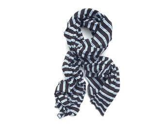 black, blue and white striped cotton scarf