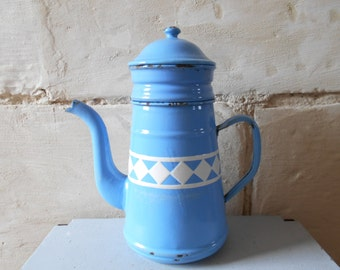 French antique enamel coffee pot, French enamelware, vintage blue coffee pot. French farmhouse decor, rustic kitchen
