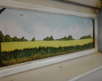 Embroidered English countryside scene.