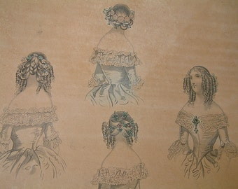 Antique french hairstyle fashions. Vintage hairstyle print. Paris womens french hairstyles. antique french vintagedecor. early 19th century