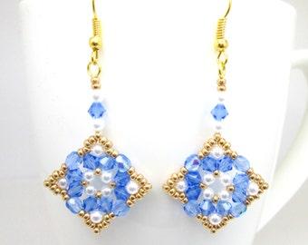 Sapphire blue and gold earrings, sapphire blue jewelry, pearl beaded earrings, statement beadwork earrrings, ER001