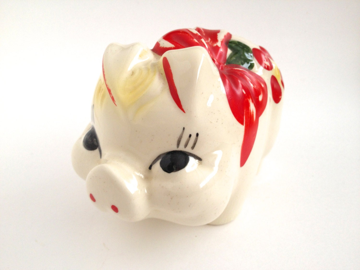 Vintage Ceramic Piggy Bank Red Bows Flowers Kitsch Coin Holder