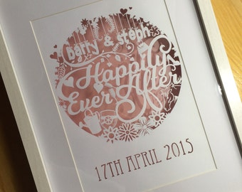 Personalised, Hand Cut 'Happily Ever After' Wedding Gift Papercut