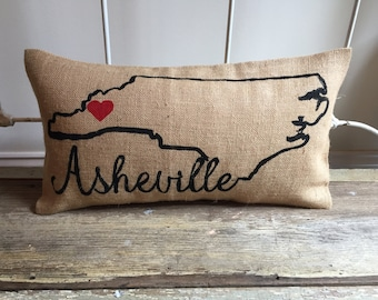 Burlap Pillow-  City, State Pillow | Customize your City or State | Mother's Day Gift, Hostess Gift, Wedding Gift, Graduation Gift