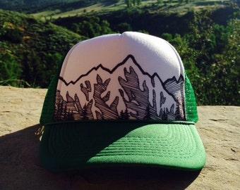 Mountain Trucker Hat - Green & White