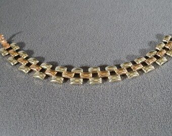 Vintage Art Deco Copper and Yellow Gold Tone Domed Shaped Line Panther Link Bracelet     KW